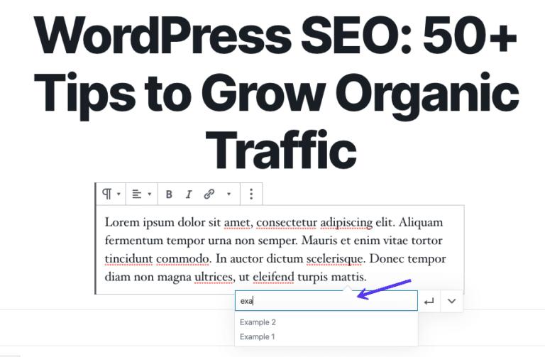 Options de recherche de liens internes dans l'éditeur de bloc