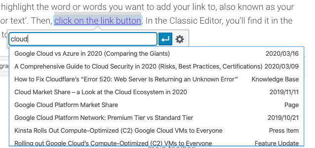 Options de recherche de liens internes dans l'éditeur classique