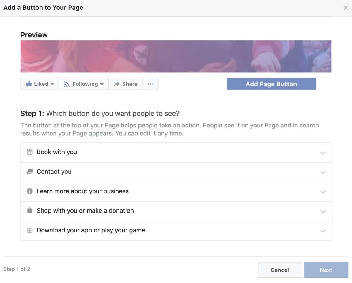 Ajouter un bouton à la page Facebook