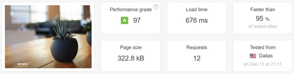 Test de vitesse avant les optimisations PageSpeed
