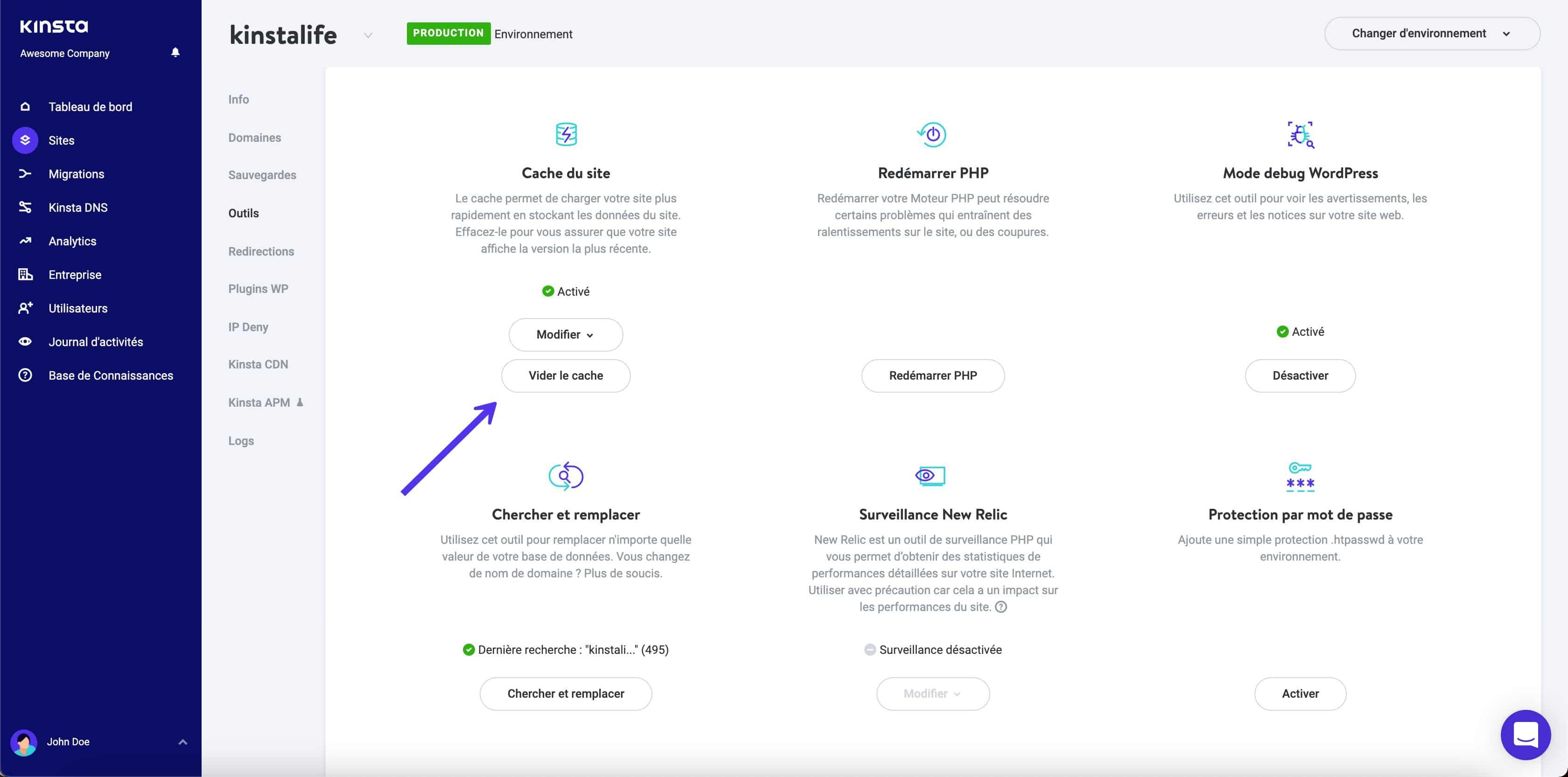 Vider le cache WordPress