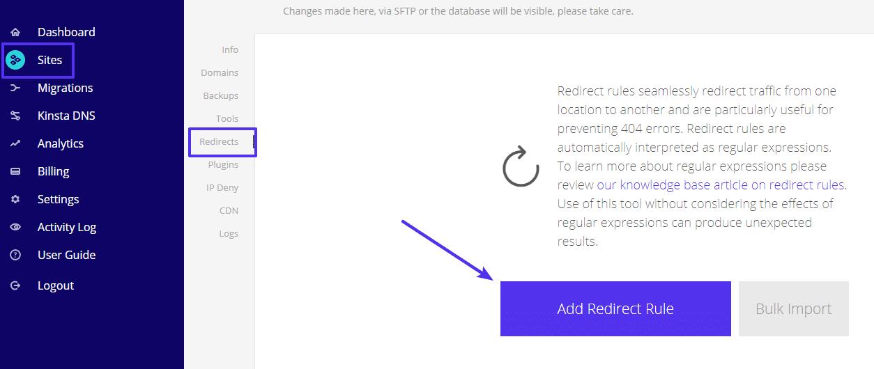 Comment configurer les redirections à partir de votre tableau de bord MyKinsta