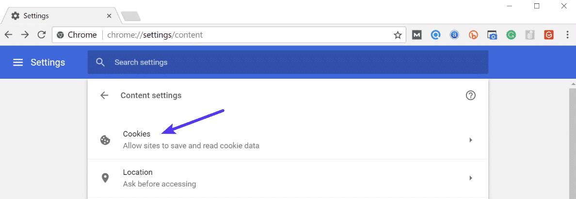 Cookies de Chrome
