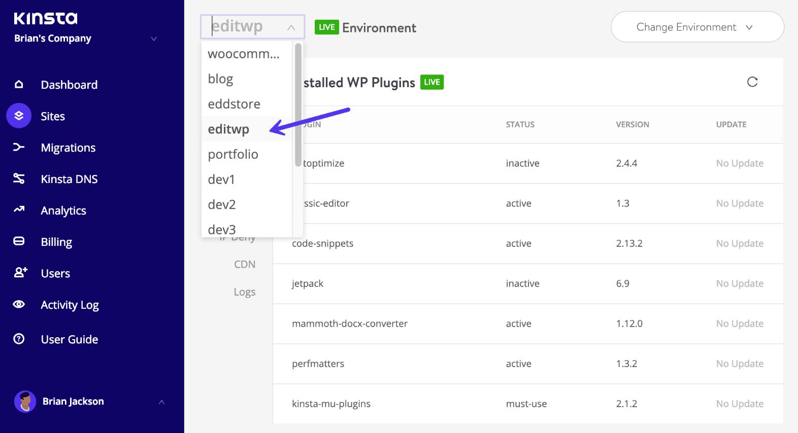 MyKinsta - Navigation entre les sites WordPress