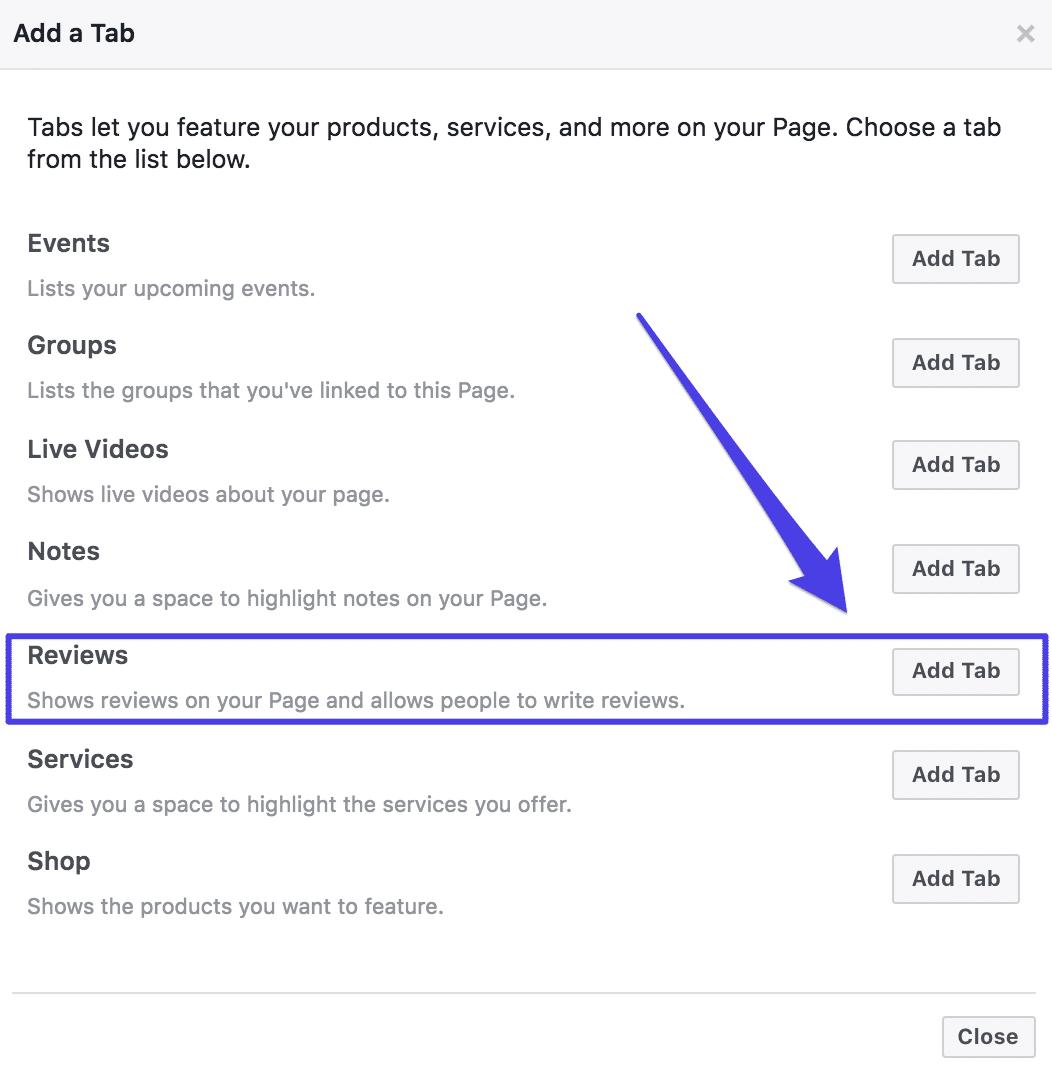 Onglet Facebook d'avis