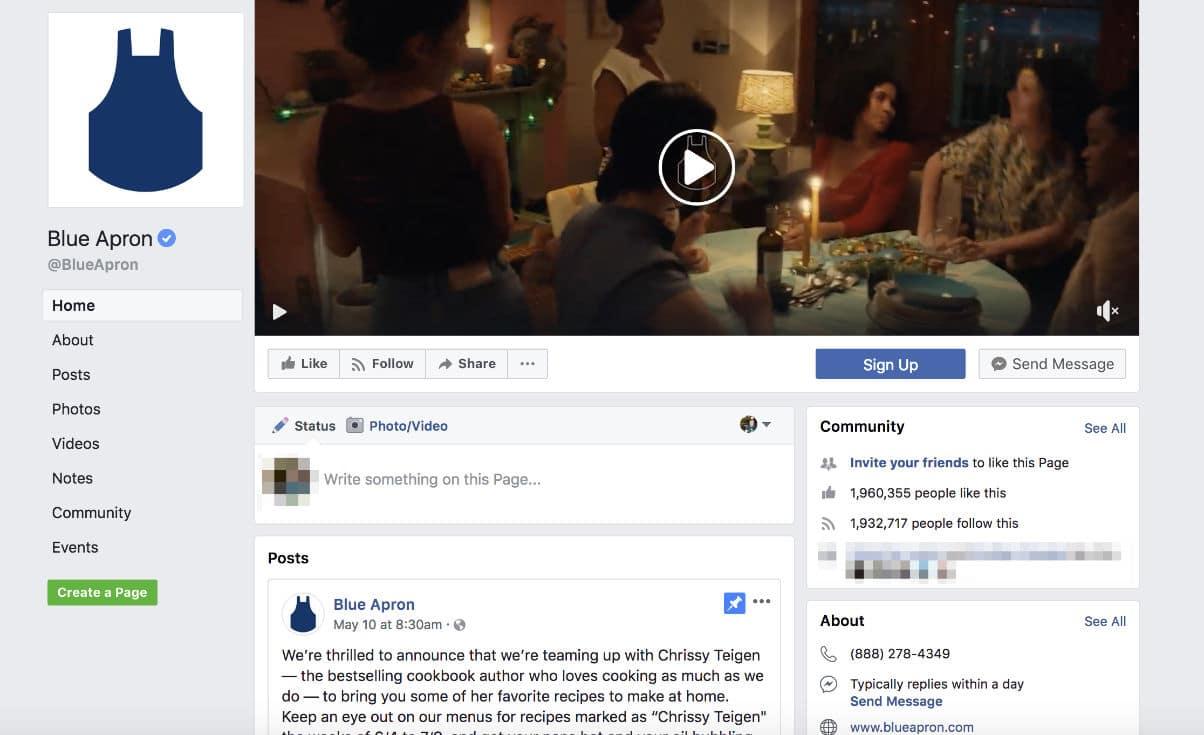 Page Facebook de Blue Apron (exemple vidéo)