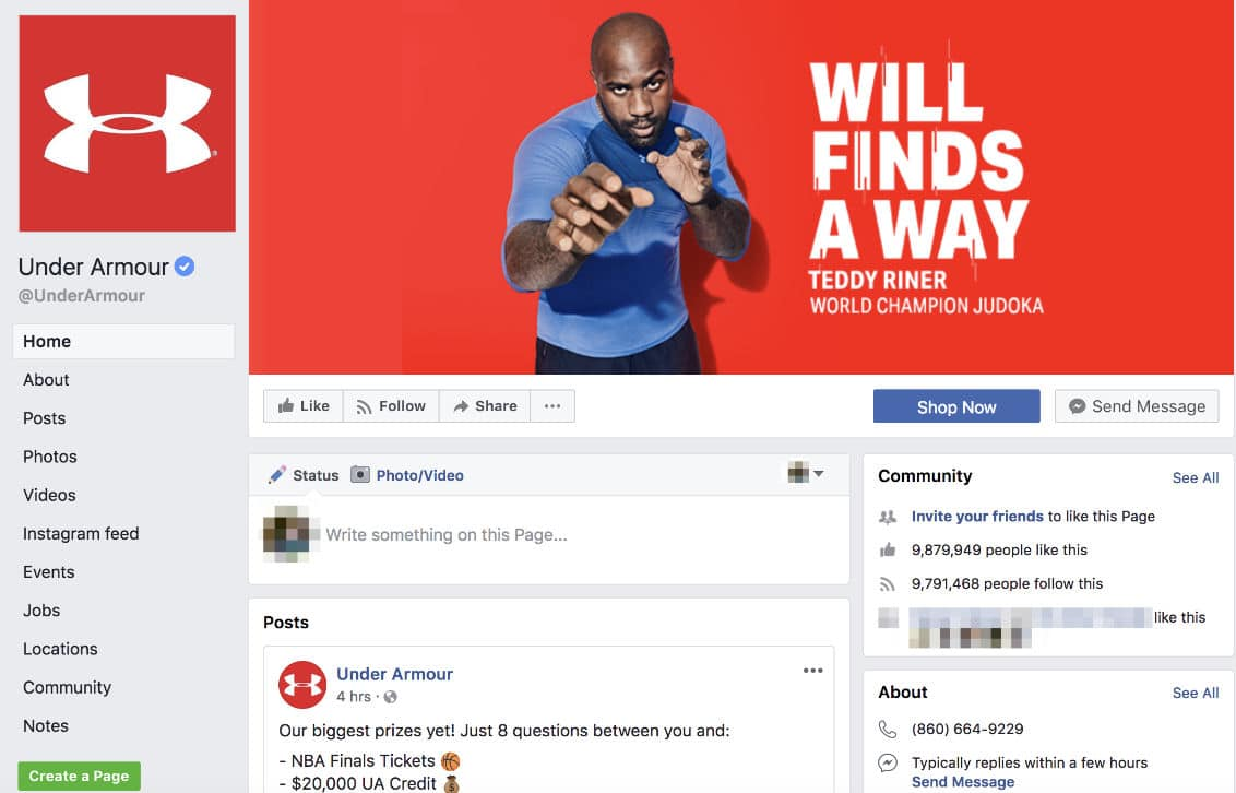 Page Facebook Under Armour