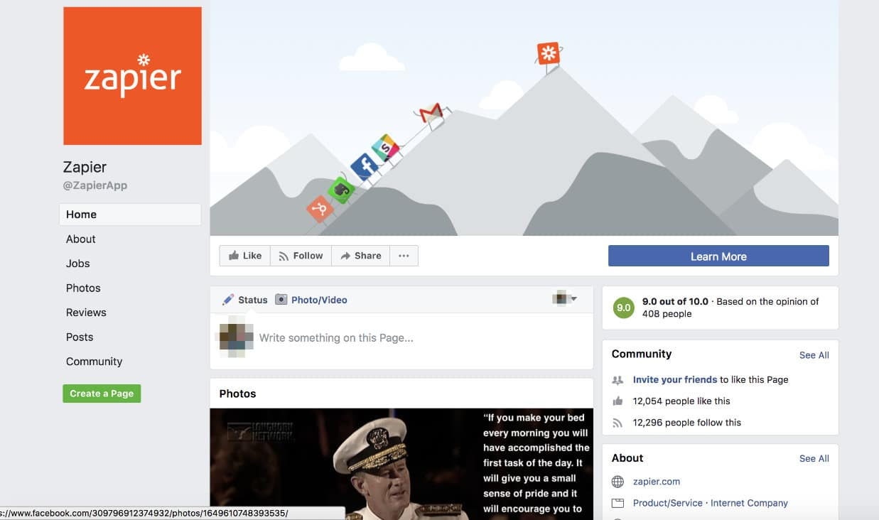 Page Facebook de Zapier