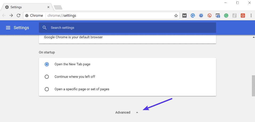 Paramètres avancés de Chrome