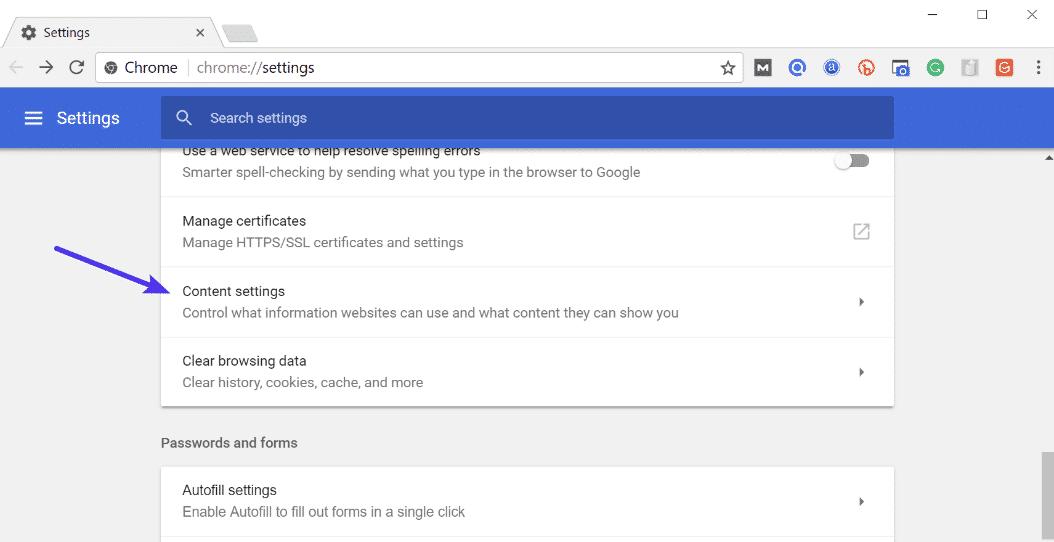 Paramètres du contenu de Chrome