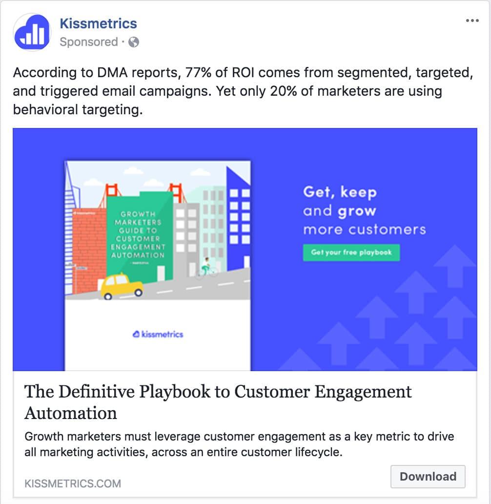 Publicité de mention sponsorisée Facebook