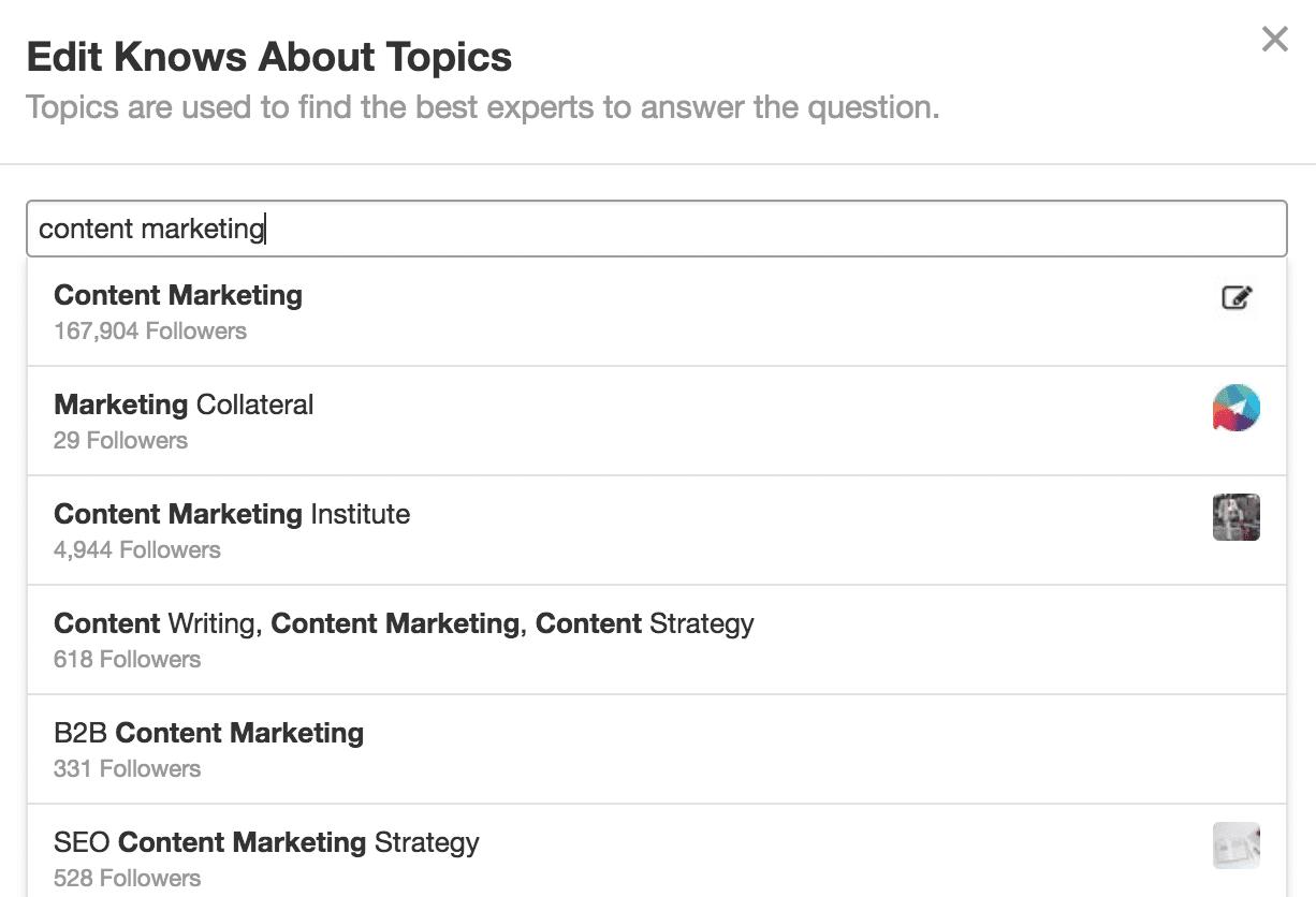 Sujets de connaissances Quora