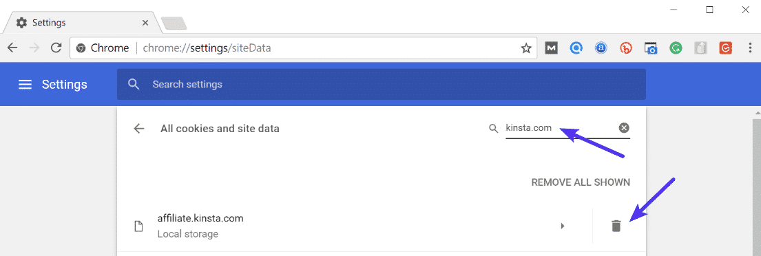 Supprimer un cookie dans Chrome