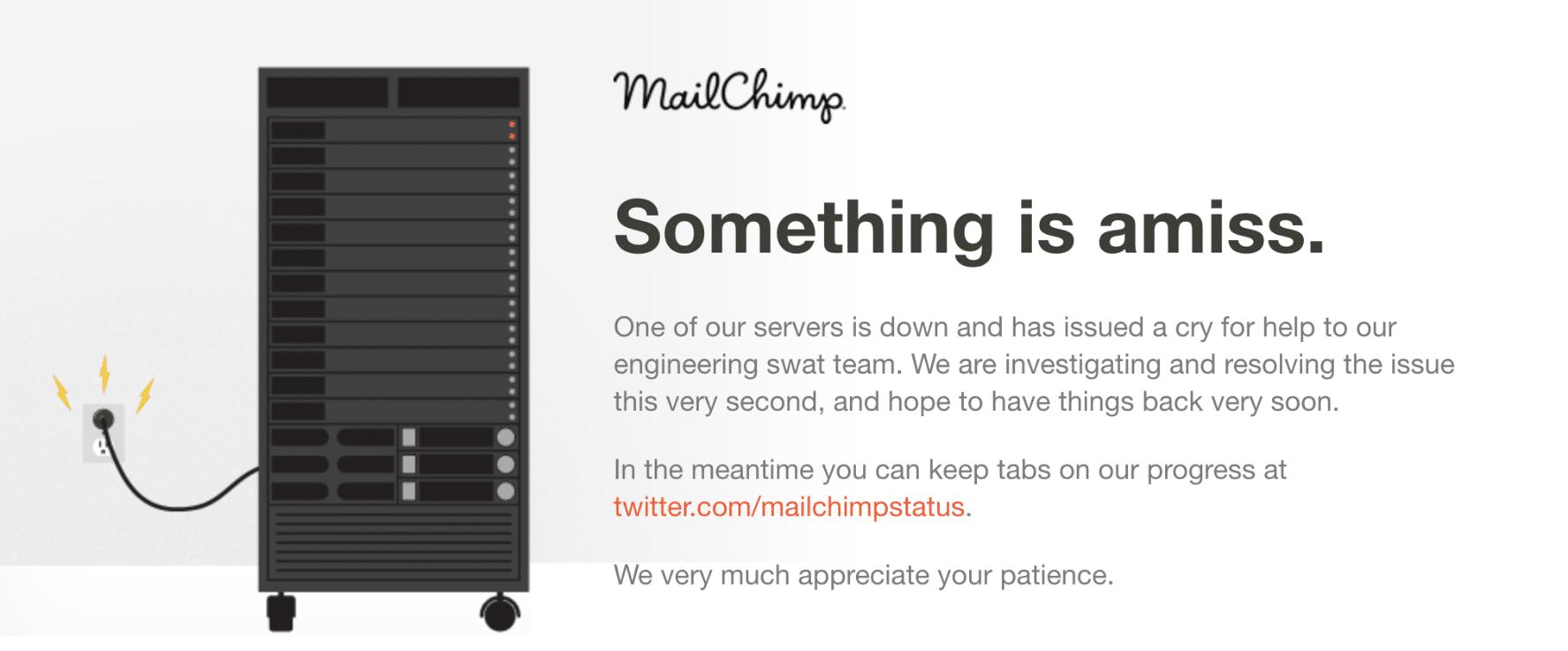 Exemple de page de temps d'indisponibilité de MailChimp