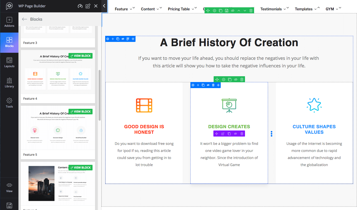 Blocs Feature WP Page Builder