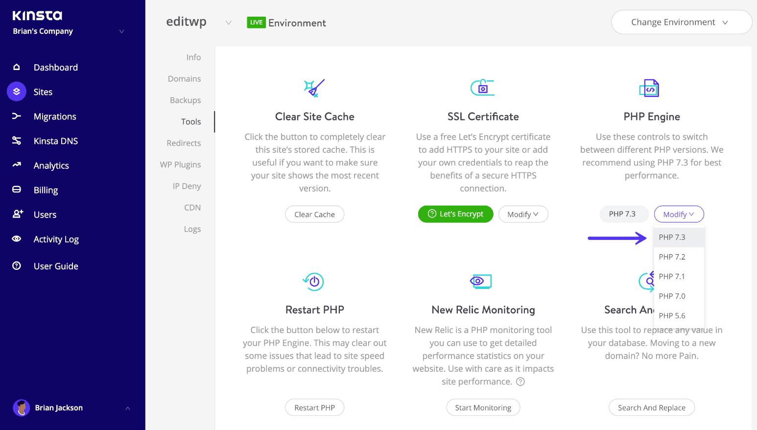 Changer la version de PHP