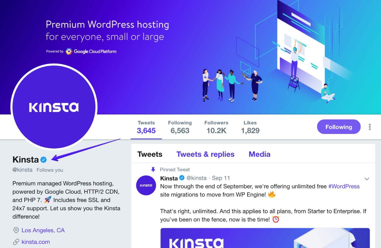 Profil vérifié sur Twitter (@kinsta)