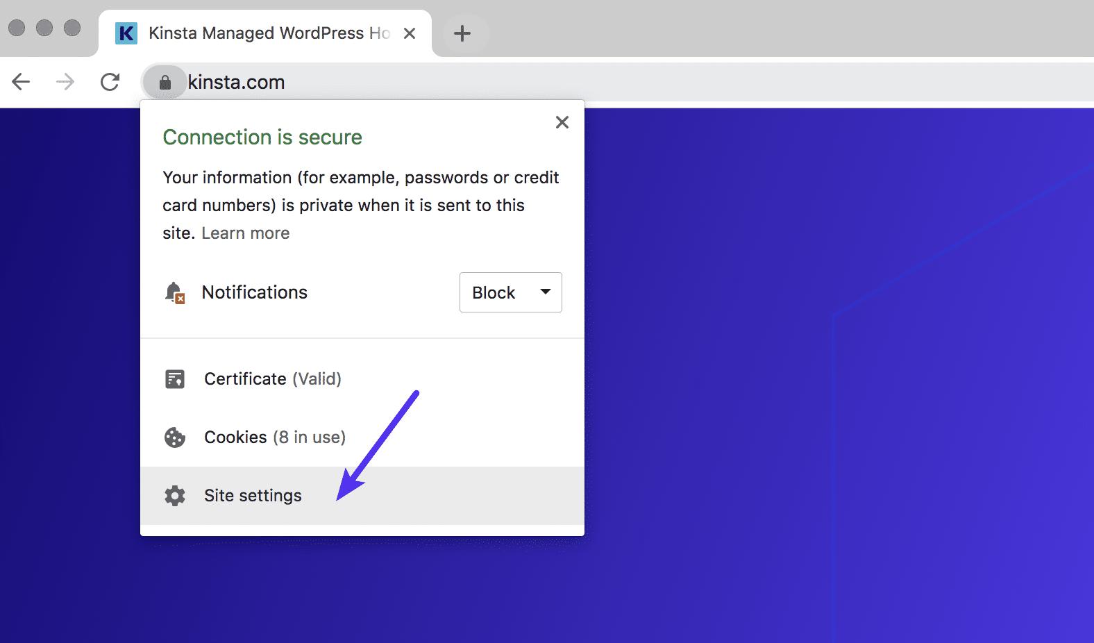 Réglages Chrome du site