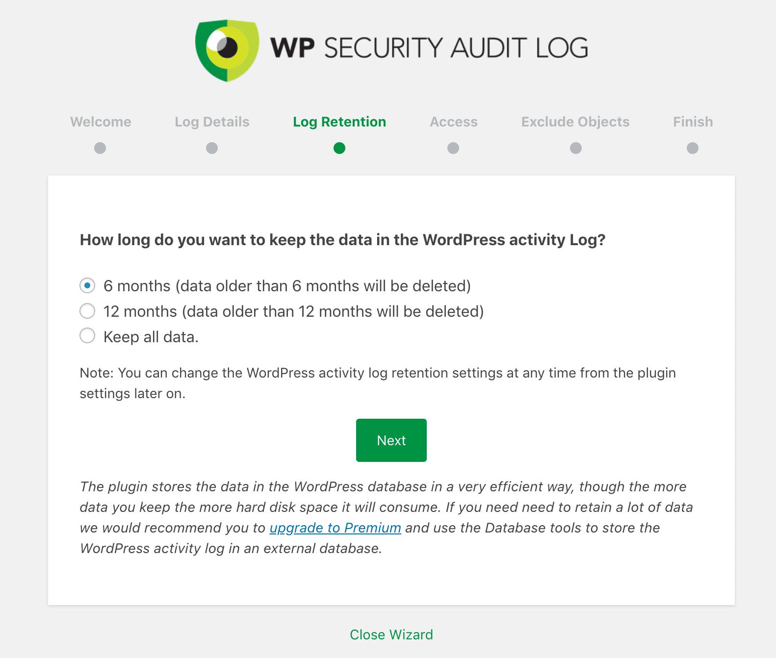 Conservation des données dans WP Security Audit Log