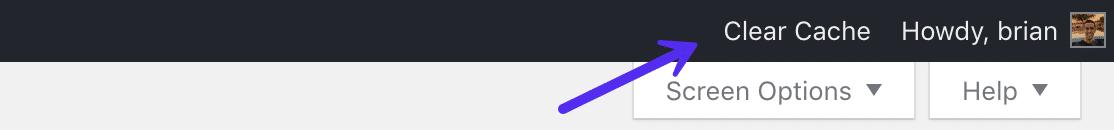 Effacer le cache à partir de la barre d'outils d'administration WordPress