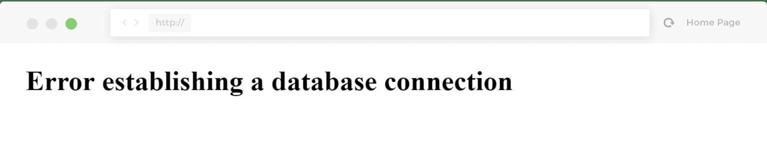 Erreur lors de l'établissement d'une connexion à une base de données