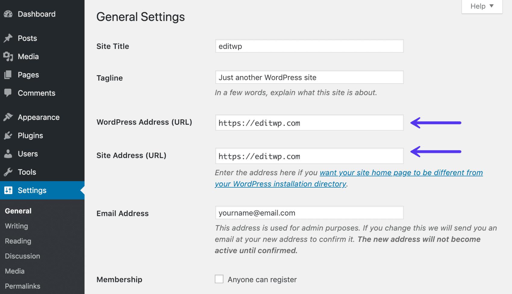 Adresse WordPress et adresse du site