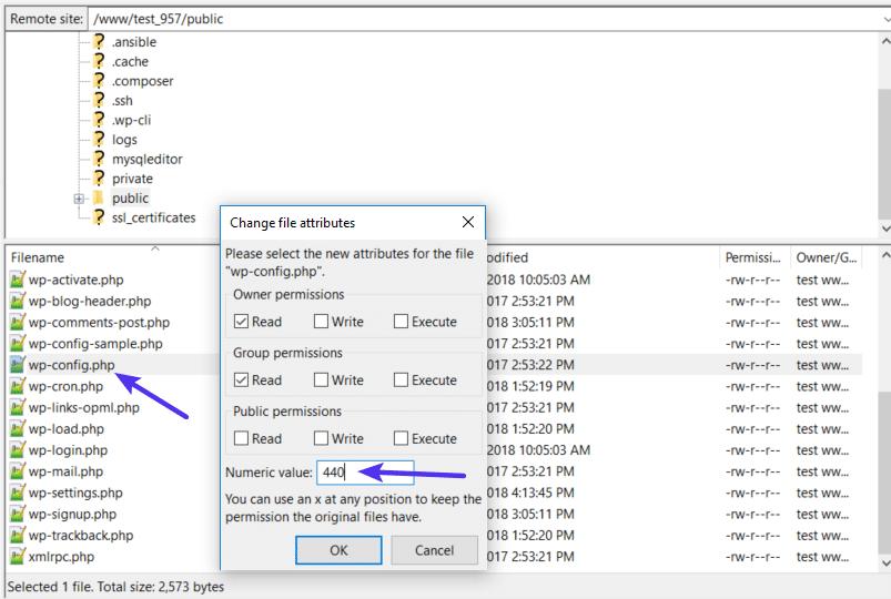 Autorisations de fichier pour le fichier wp-config.php