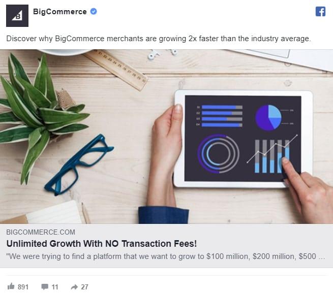 Exemple de reciblage publicitaire sur Facebook