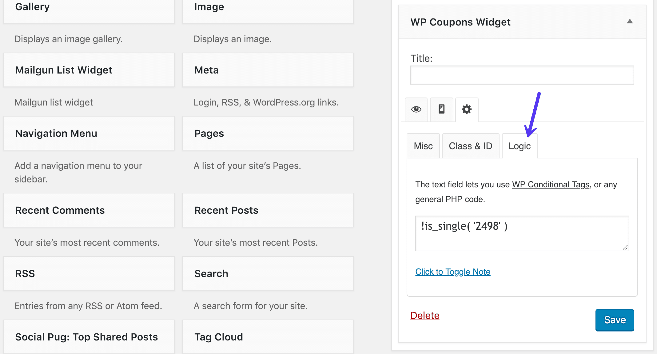 Logique du widget WordPress