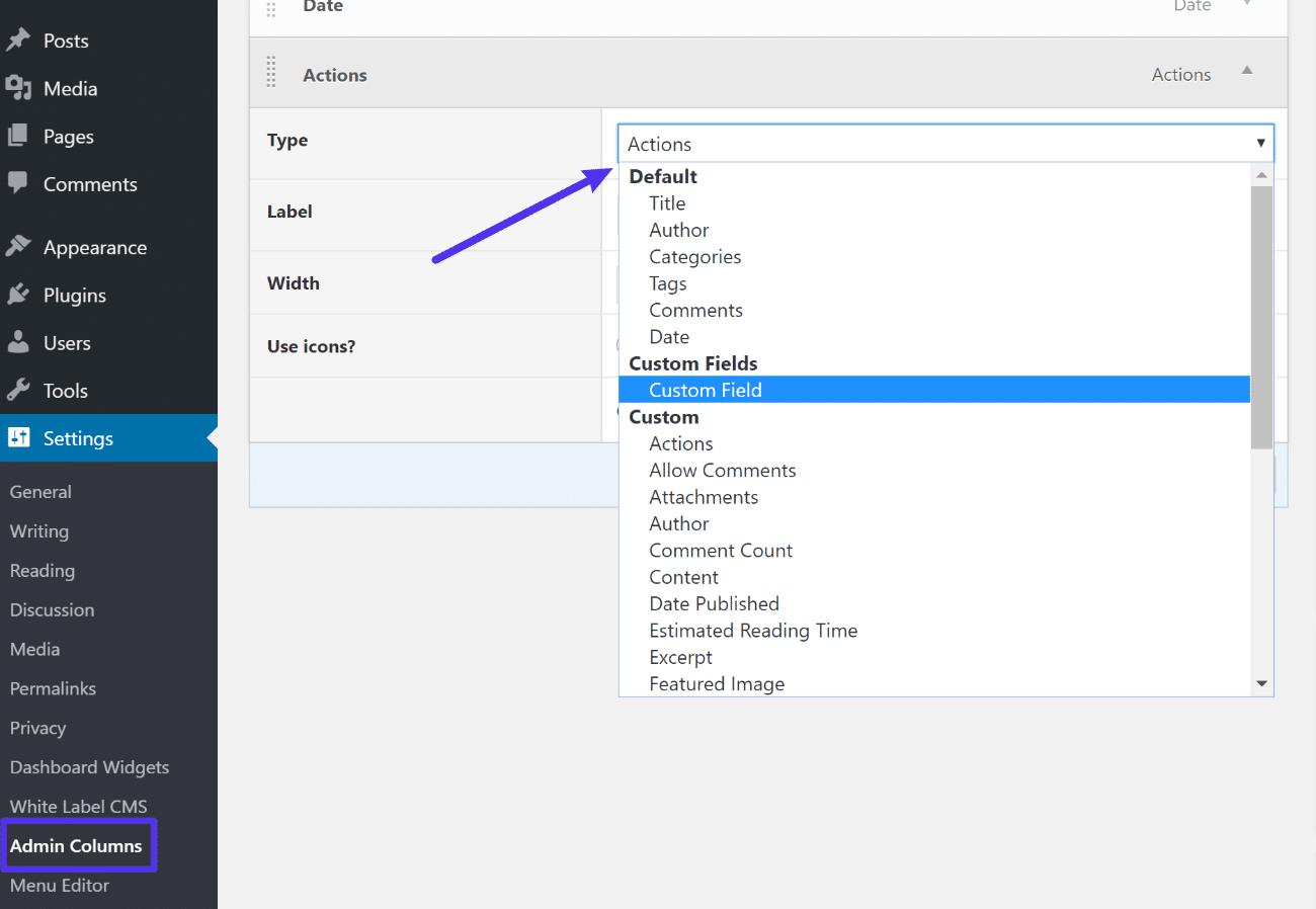 L'interface Admin Columns
