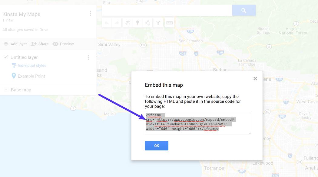 Le code d'intégration de My Maps