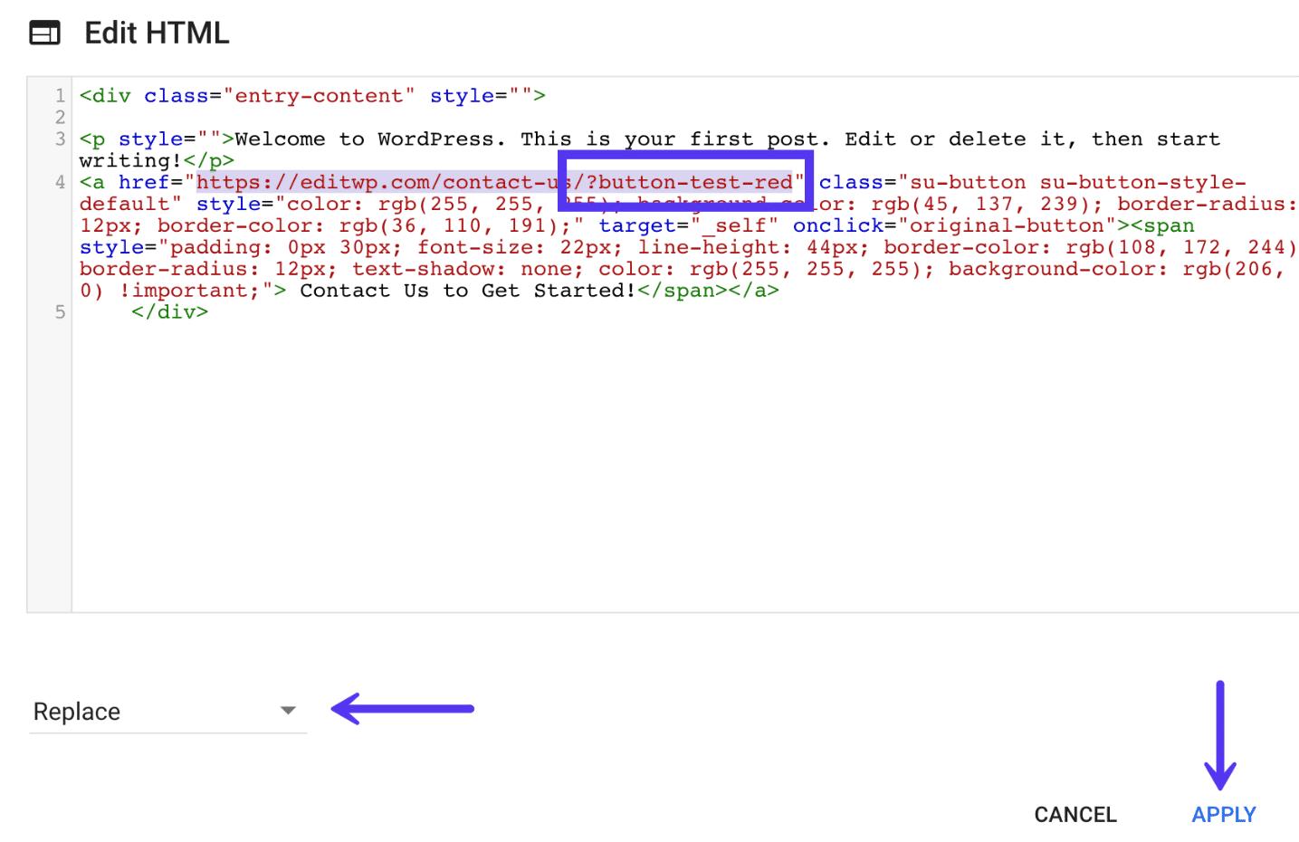 Modifier l'URL du bouton