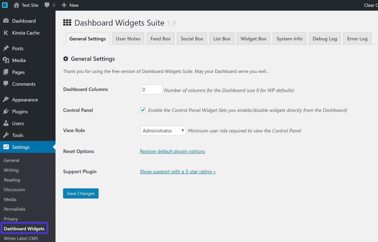 Paramètres de Dashboard Widgets Suite