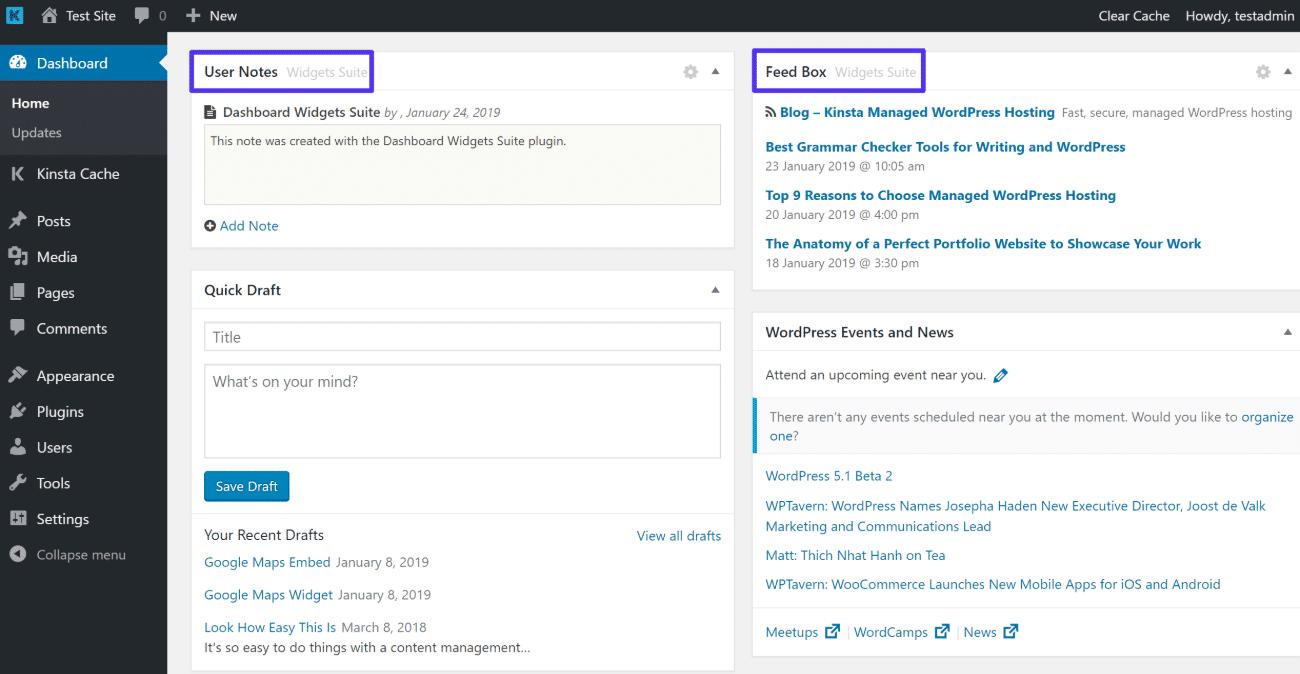 Exemple de widgets de Dashboard Widgets Suite