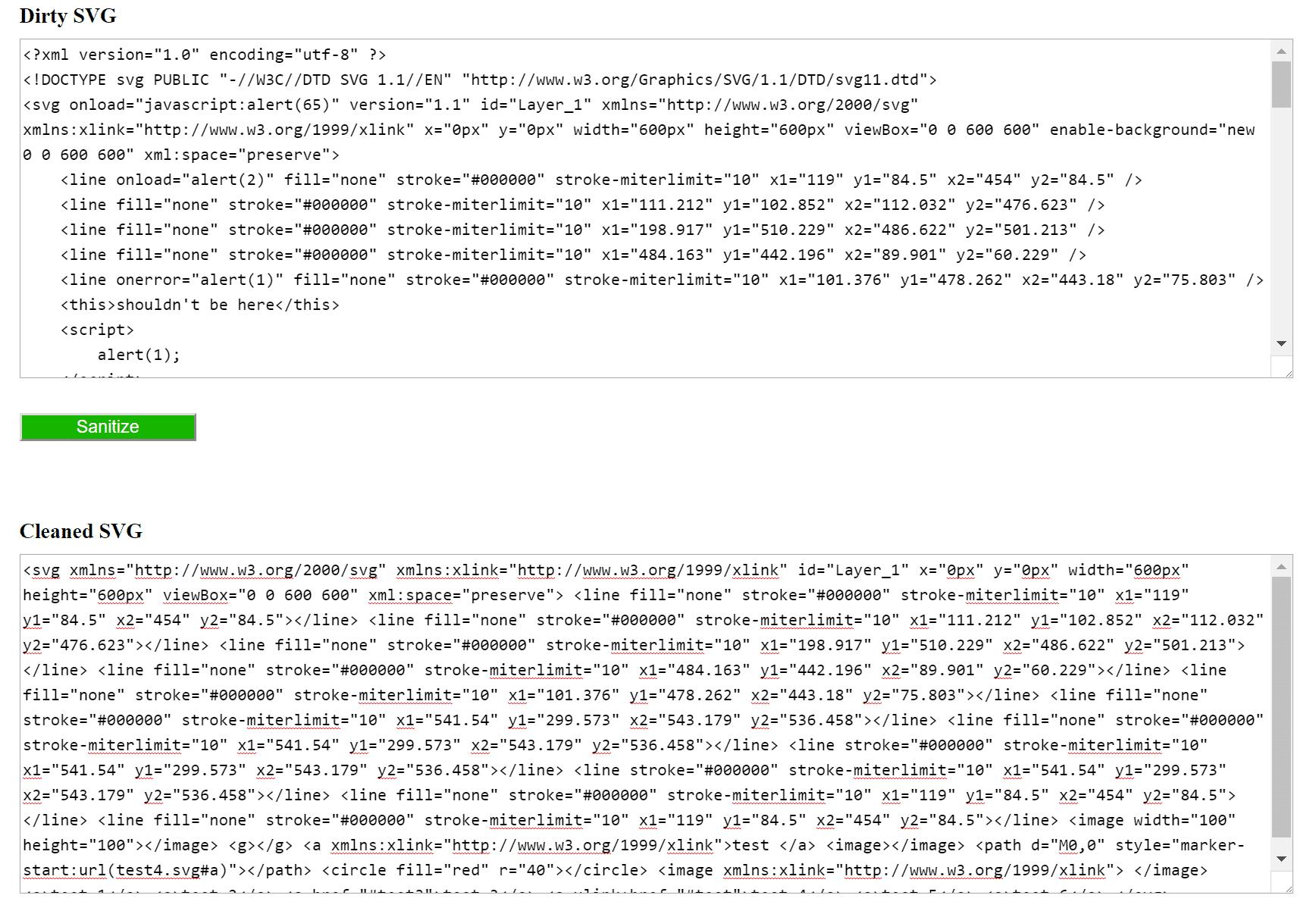 Démonstration du nettoyeur de SVG