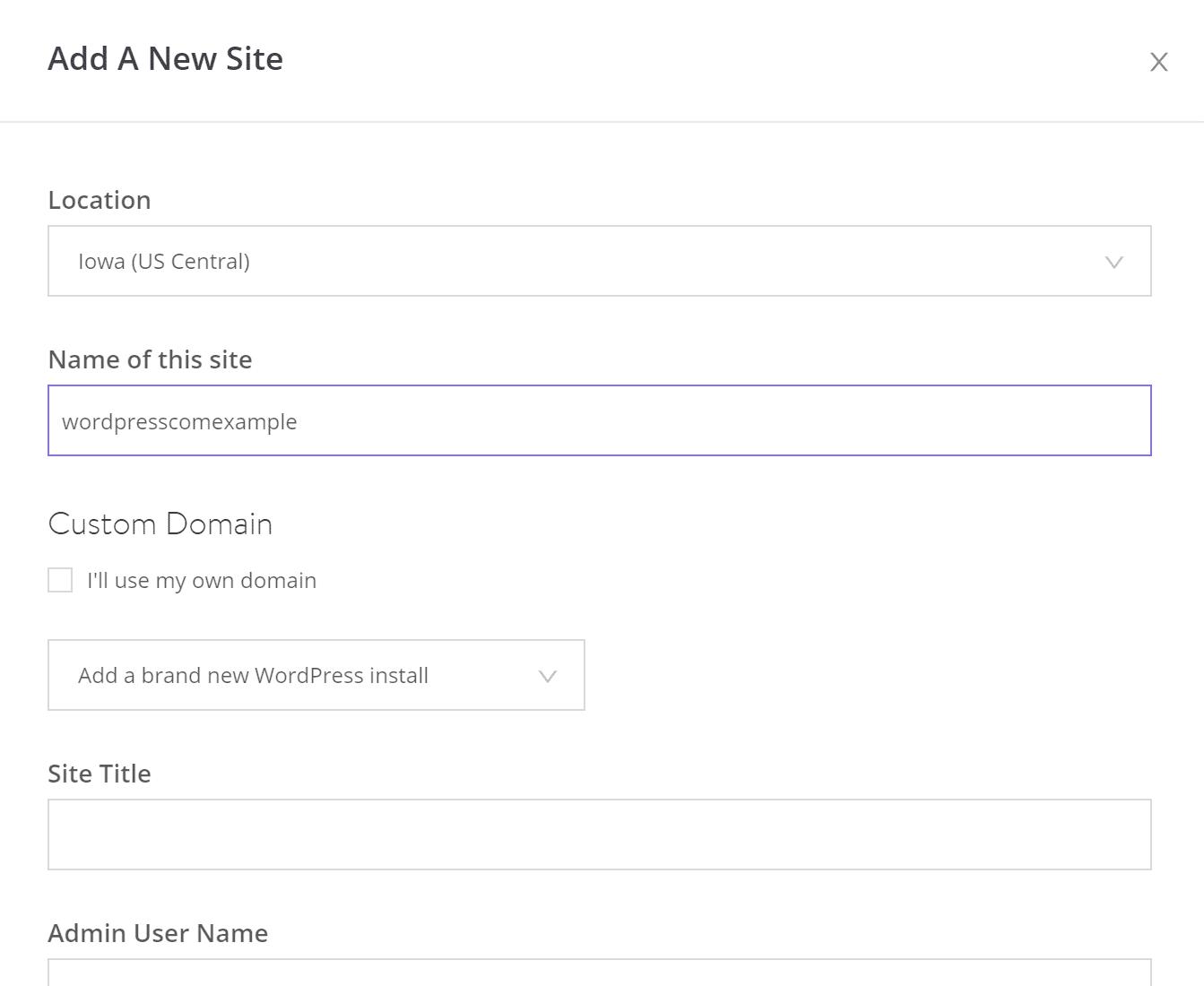 Remplissez les informations pour votre installation WordPress