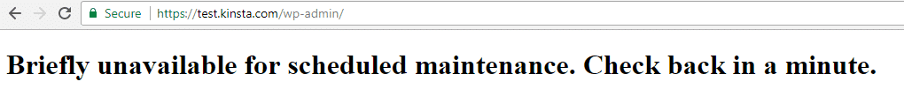 "Exemple du message ""Briefly Unavailable for Scheduled Maintenance"""