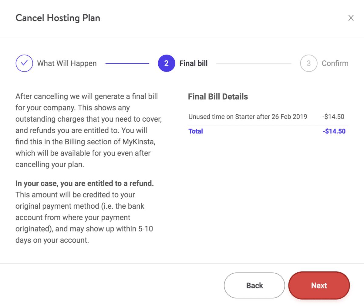 Annuler le plan Kinsta - Facture finale