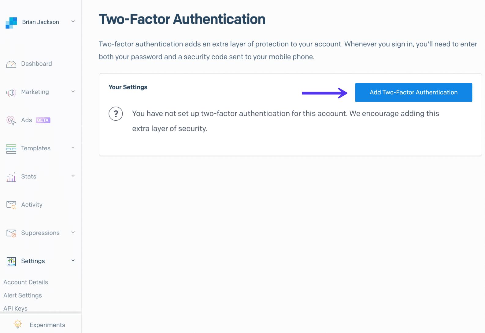 Authentification à deux facteurs de SendGrid