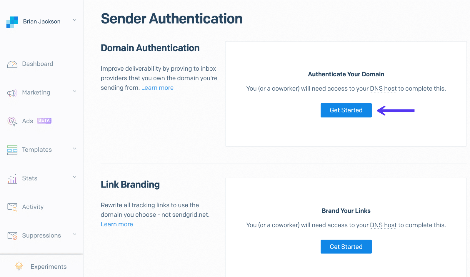 Authentification du domaine SendGrid