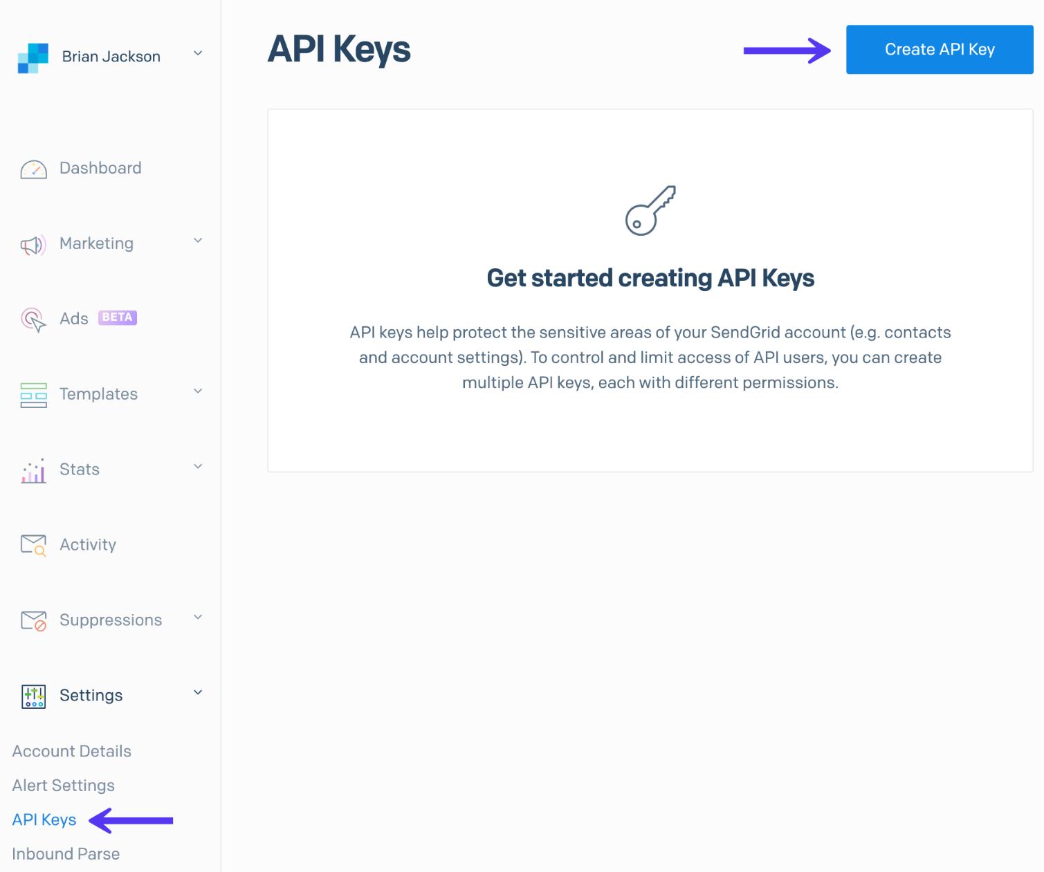 Création de la clé API SendGrid