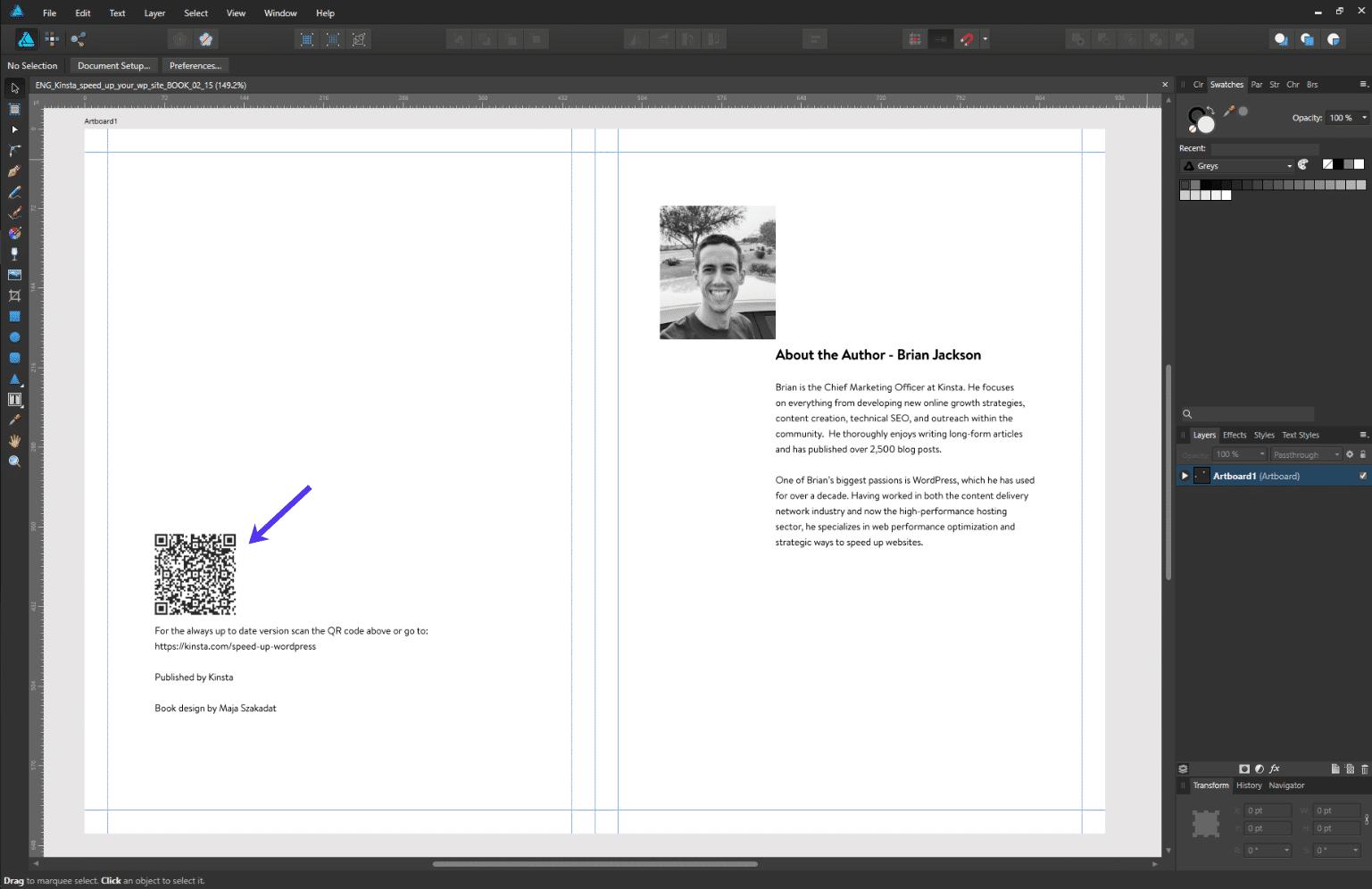 Exemple de code QR dans un livre imprimé