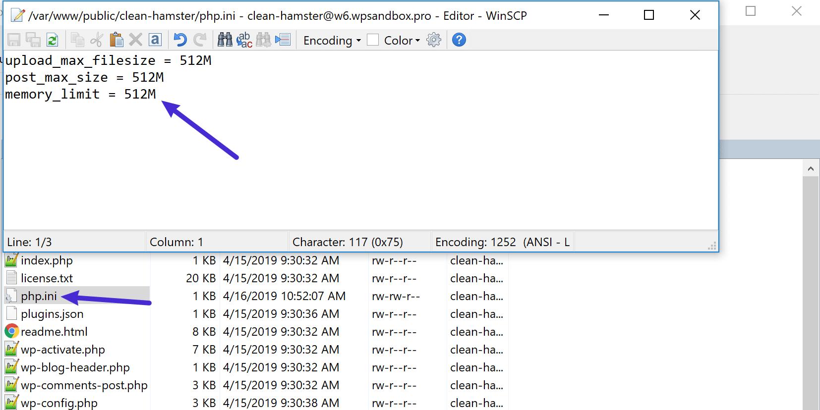 Ajout du code au fichier php.ini