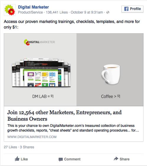 Annonce Facebook d'une bonne offre