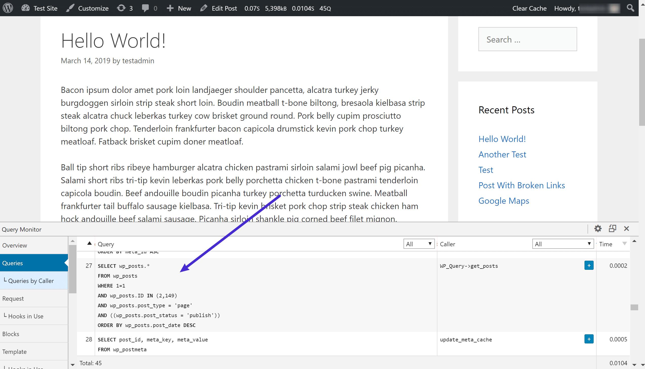 Le plugin Query Monitor vous montre les requêtes SQL individuelles envoyées au serveur MySQL