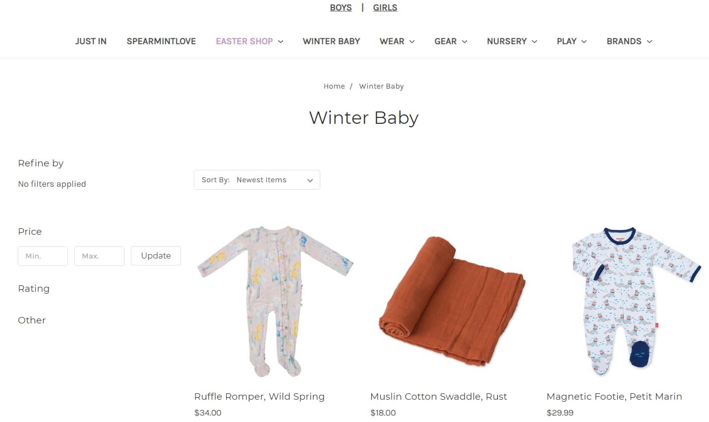 Site de eCommerce de vêtements pour bébés