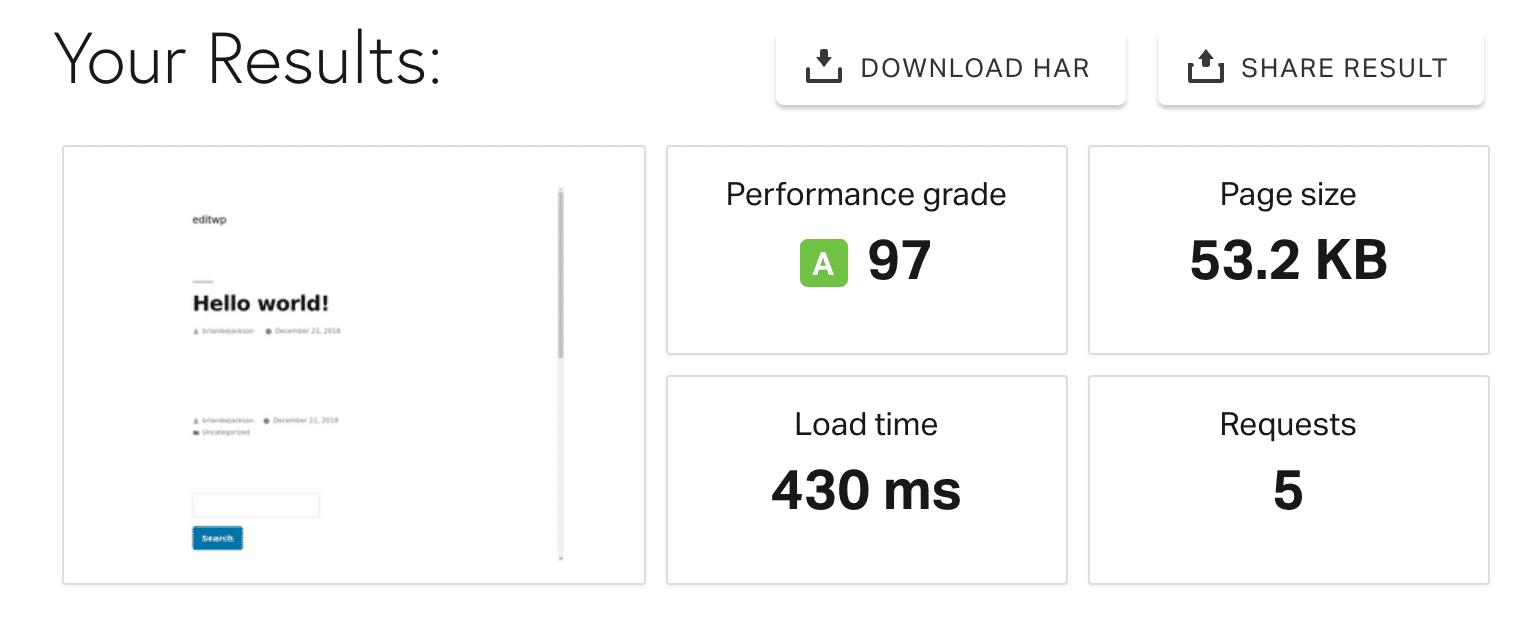 Test de vitesse sans Shareaholic