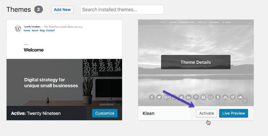 Comment activer un thème dans WordPress