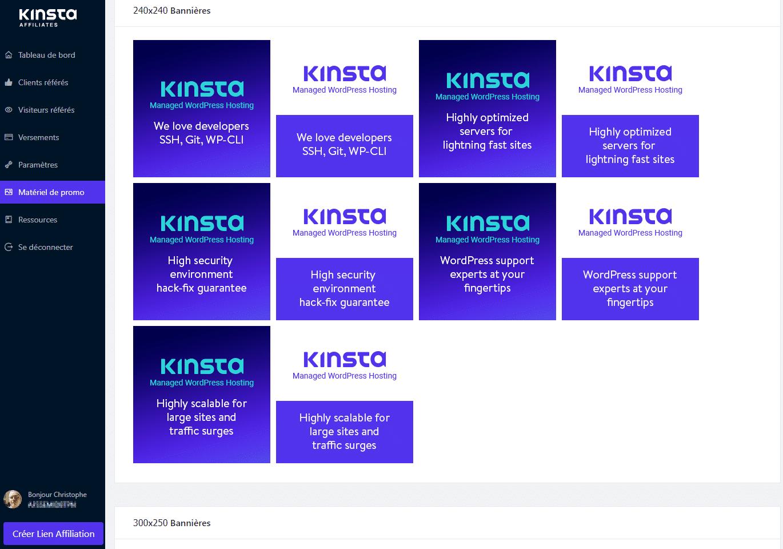 Tableau de bord affiliation Kinsta