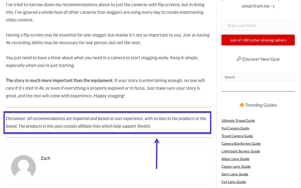 Exemple d'avertissement à la fin de la page